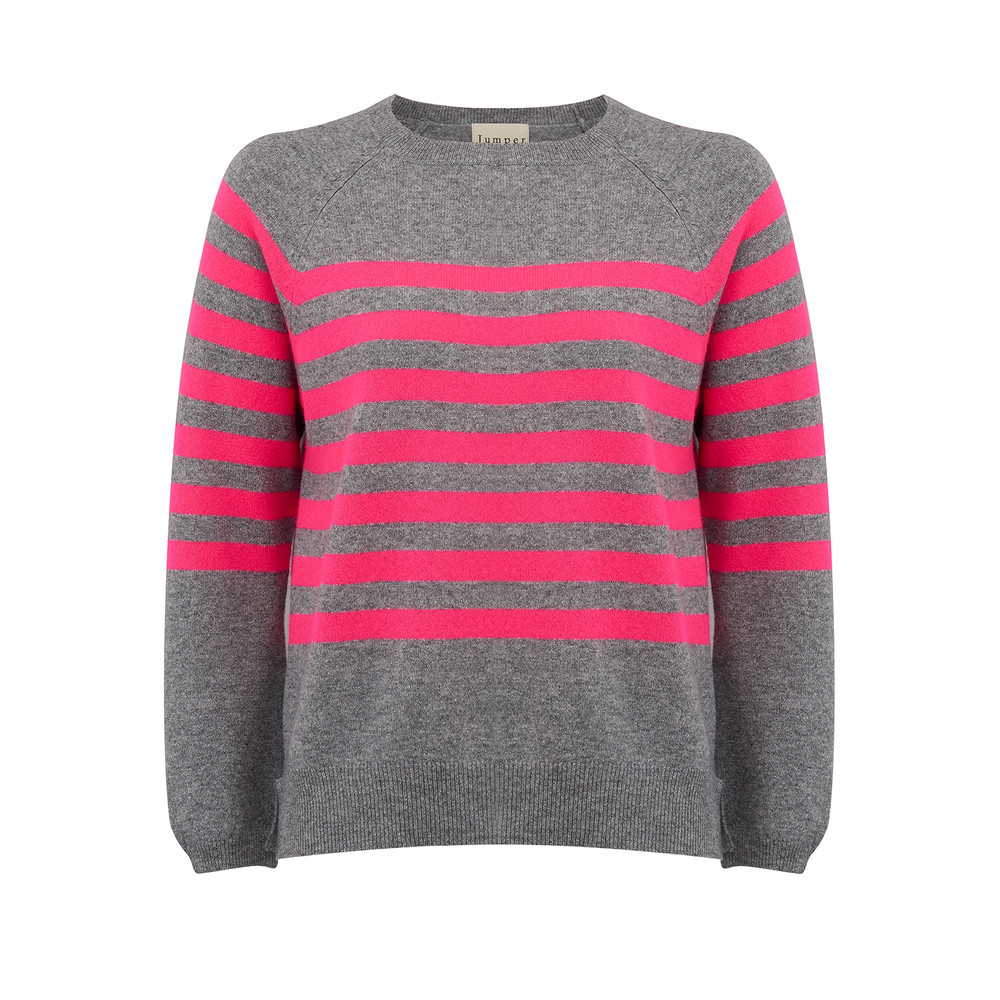 French Stripe Cashmere Jumper - Mid Grey and Neon Pink