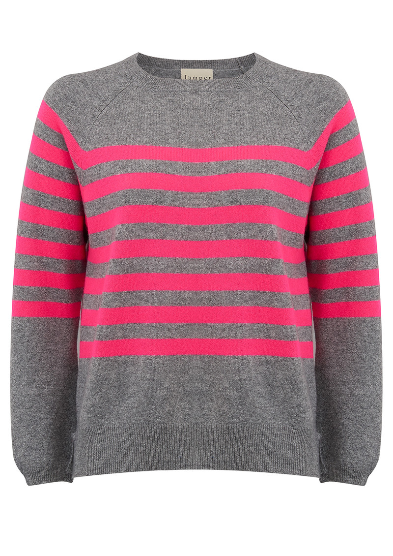JUMPER 1234 French Stripe Cashmere Jumper - Mid Grey and Neon Pink main image