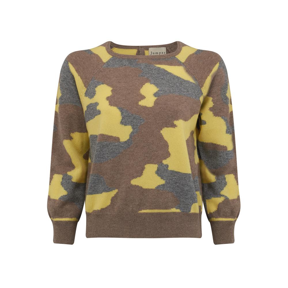 Camouflage Cashmere Jumper - Mushroom, Mid Grey & Lemon