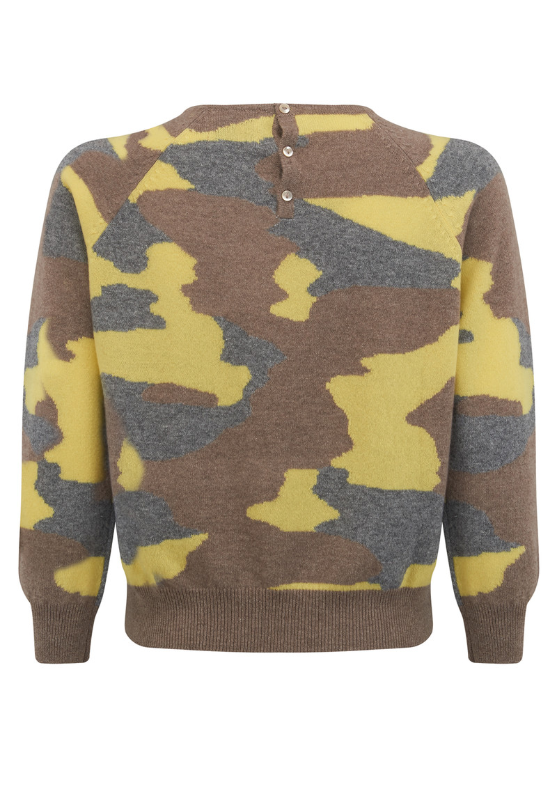 JUMPER 1234 Camouflage Cashmere Jumper - Mushroom, Mid Grey & Lemon main image