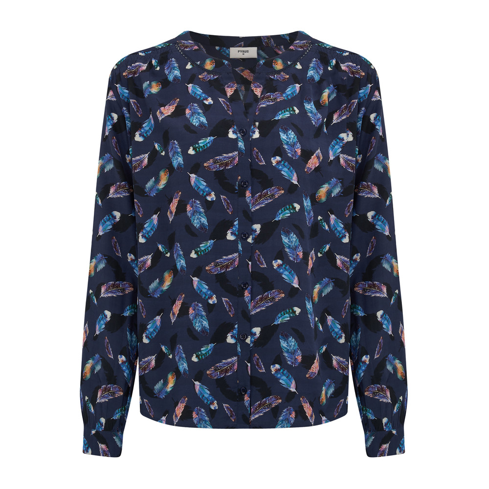 Feather Print Blouse - Feather Print
