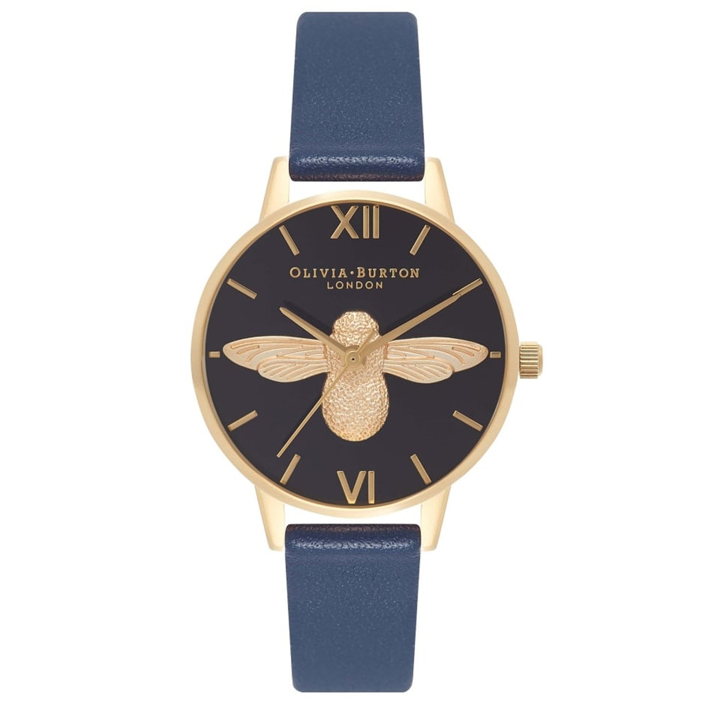 In The Navy Midi Moulded Bee Watch - Navy & Gold