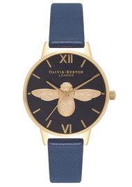 Olivia Burton In The Navy Midi  Moulded Bee Watch - Navy & Gold