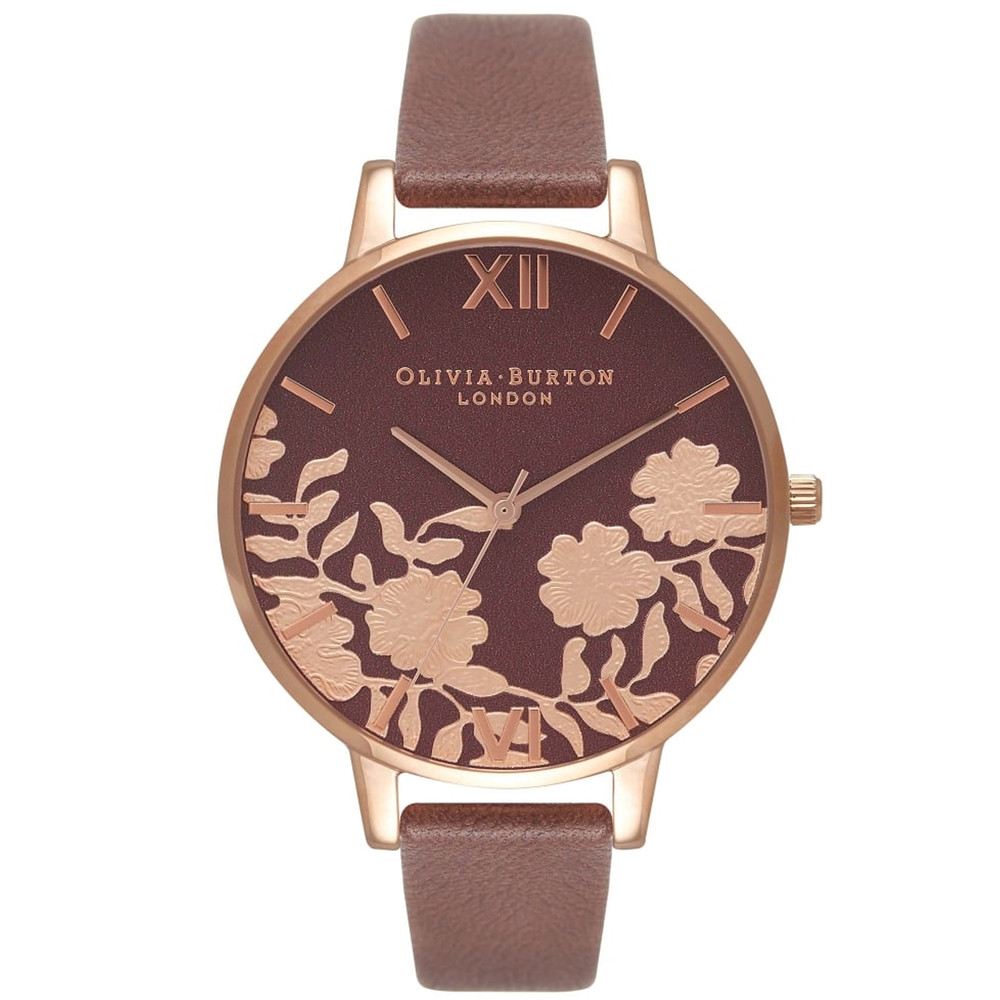 Lace Detail Watch - Brown & Rose Gold