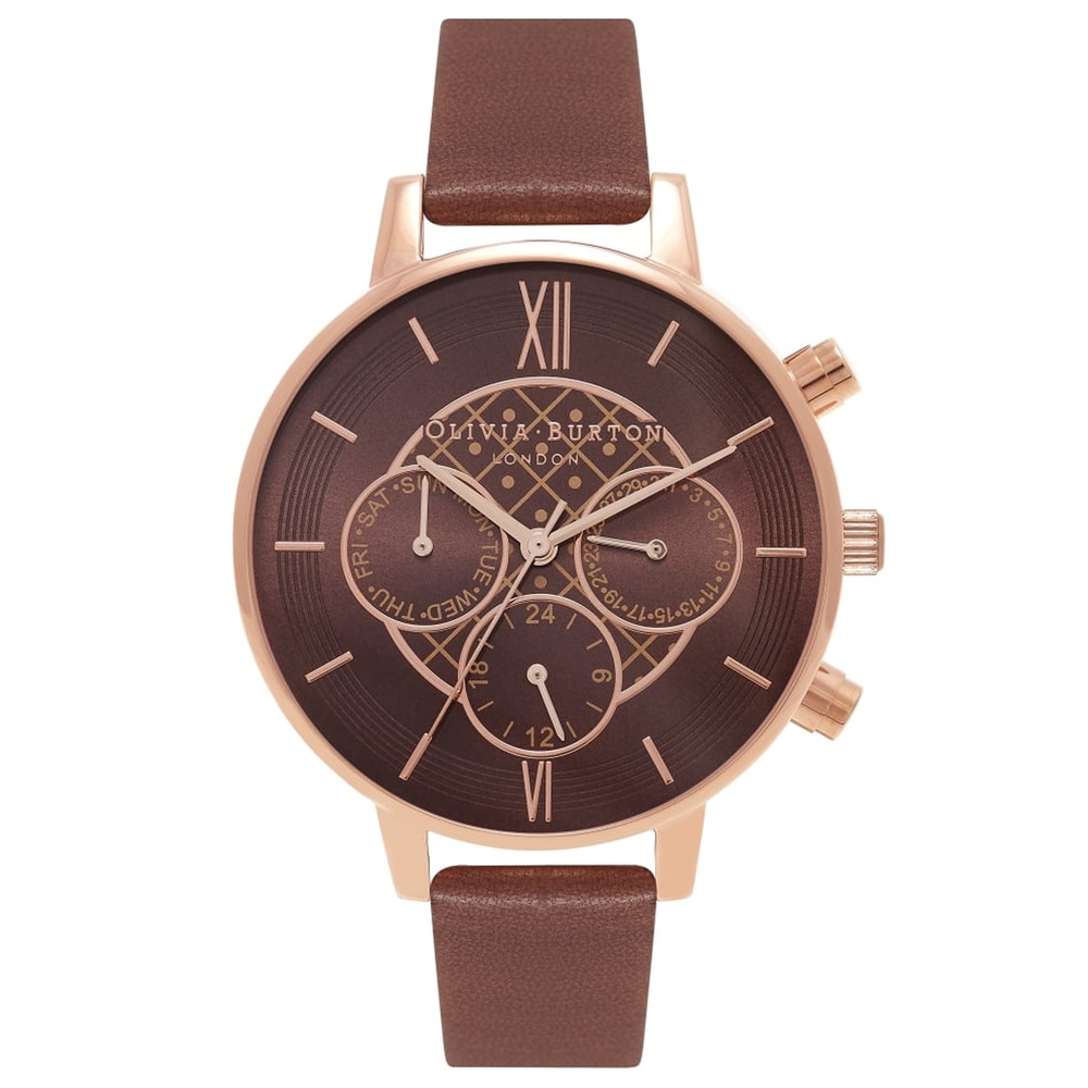 Chrono Detail Brown Dial Watch - Brown & Rose Gold