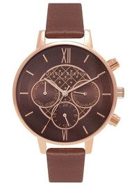 Olivia Burton Chrono Detail Brown Dial Watch - Brown & Rose Gold