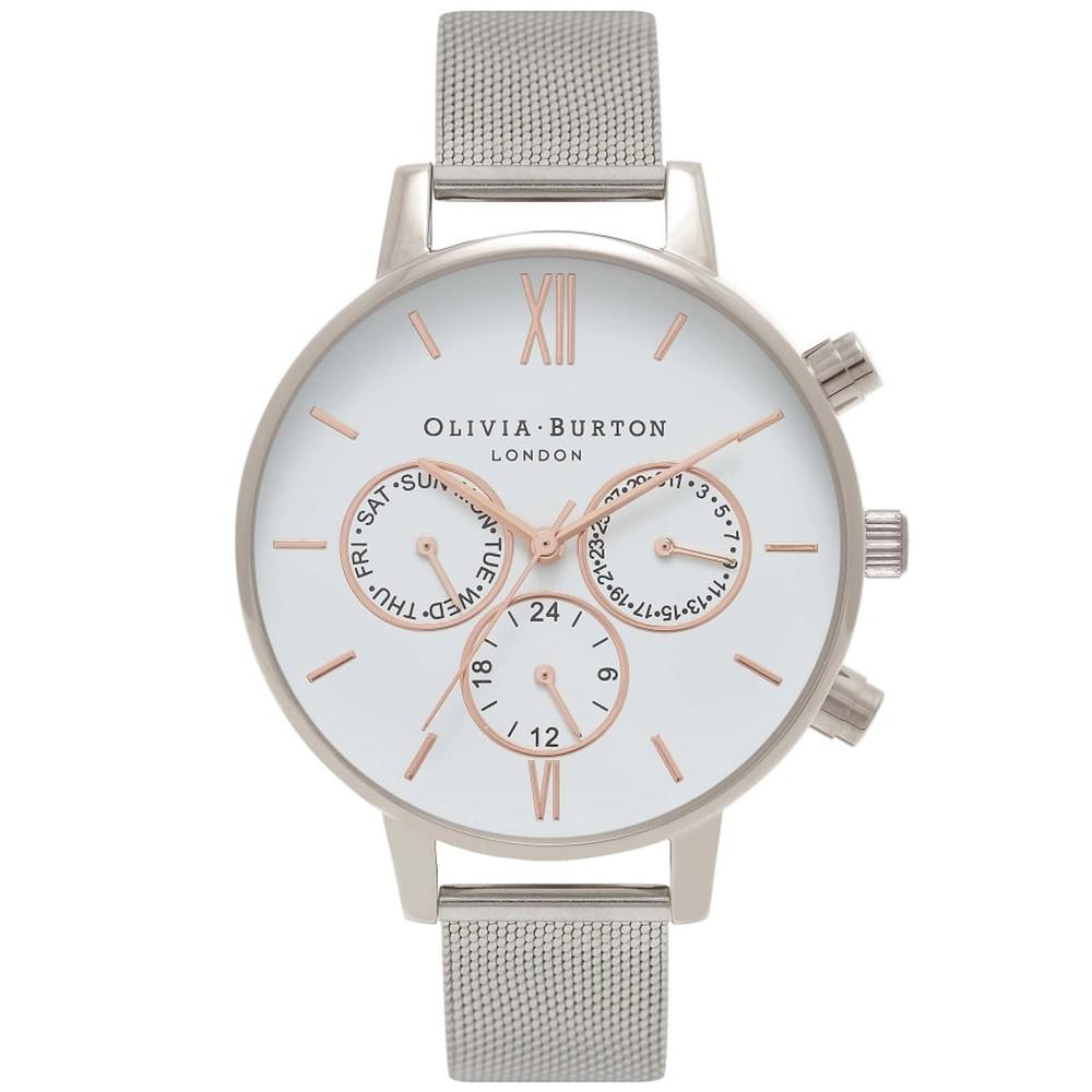 Chrono Detail White Dial Mesh Watch - Silver