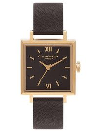 Olivia Burton Square Dial Watch - Black & Gold