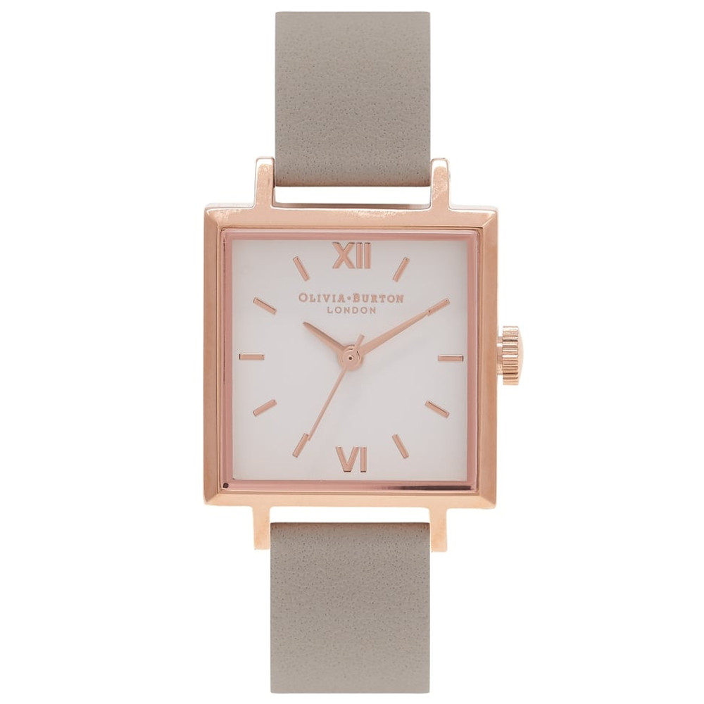 Square Dial Watch - Grey & Rose Gold