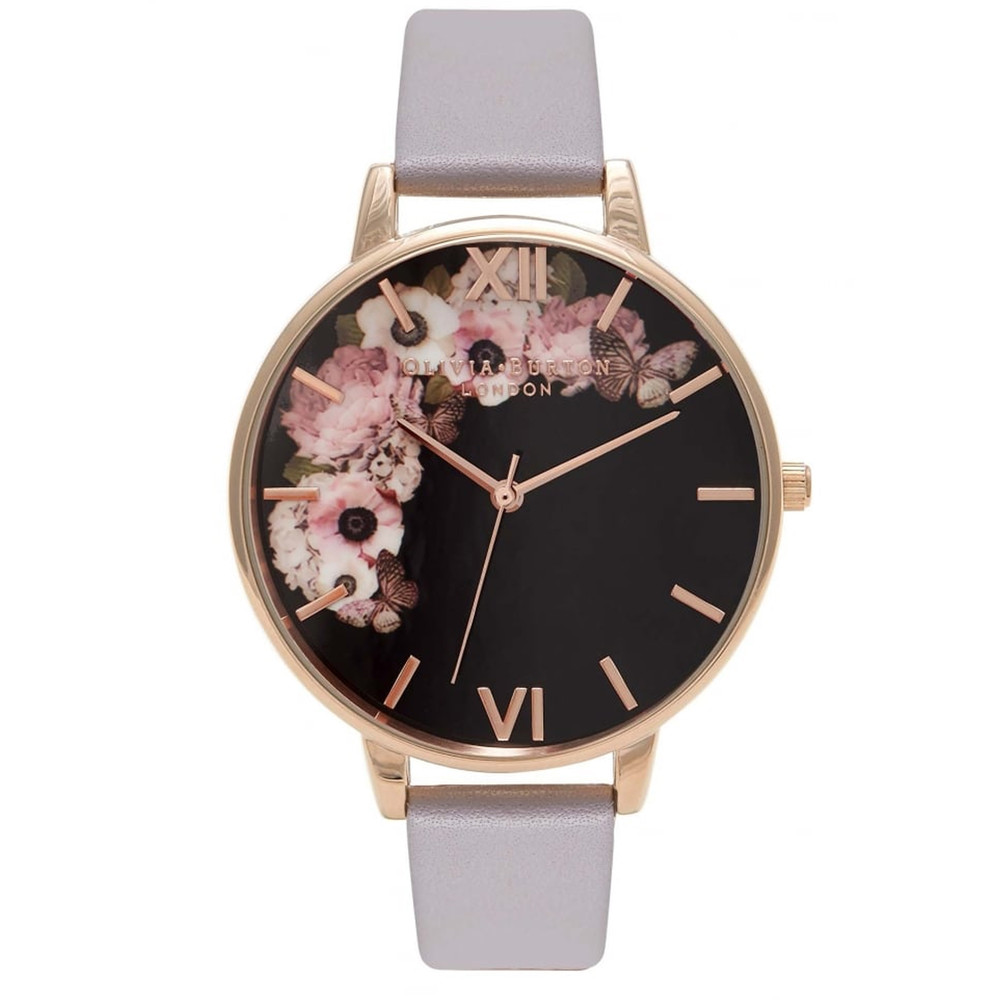 Winter Garden Black Dial Watch - Grey Lilac & Rose Gold
