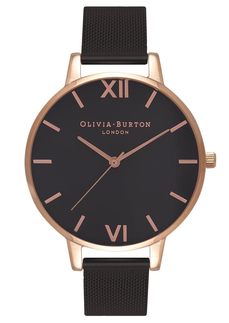 Olivia Burton Big Dial Black Dial IP Black Mesh Watch - Rose Gold main image