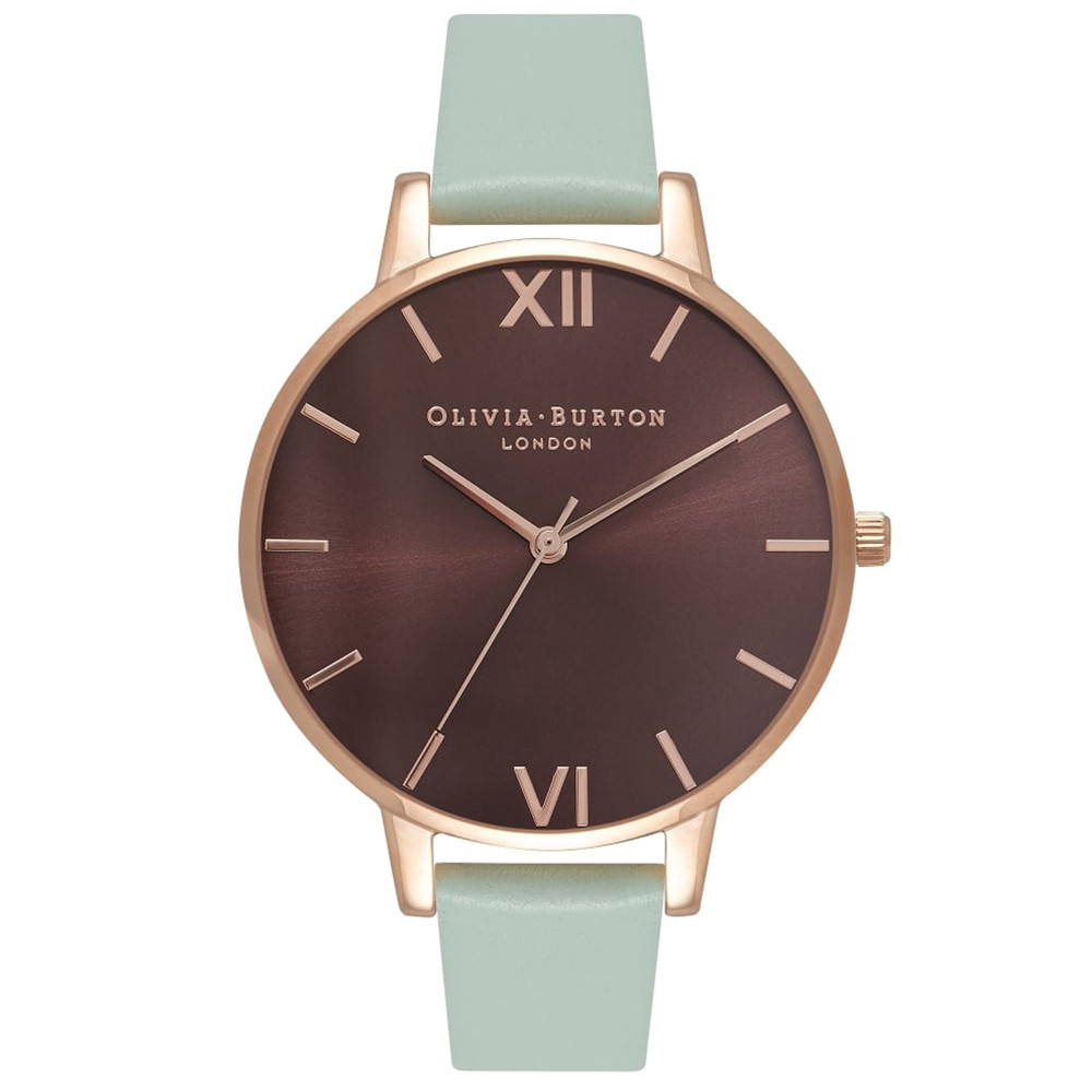 Big Dial Brown Dial Watch - Mint & Rose Gold