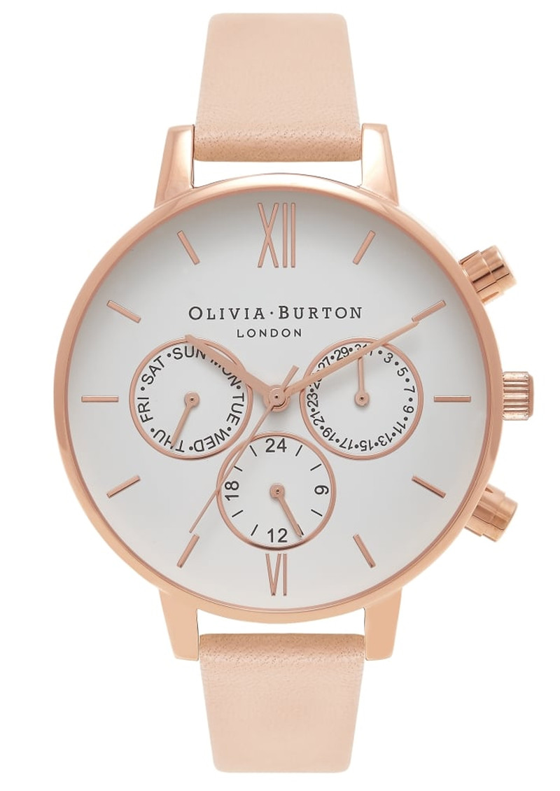 Olivia Burton Chrono Detail Watch - Nude Peach & Rose Gold main image