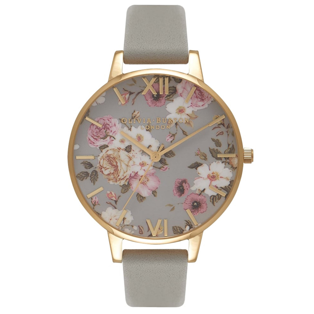 Flower Show Big Dial Watch - Grey & Gold