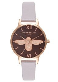 Olivia Burton Midi Moulded Bee Brown Dial Watch - Grey Lilac & Rose Gold