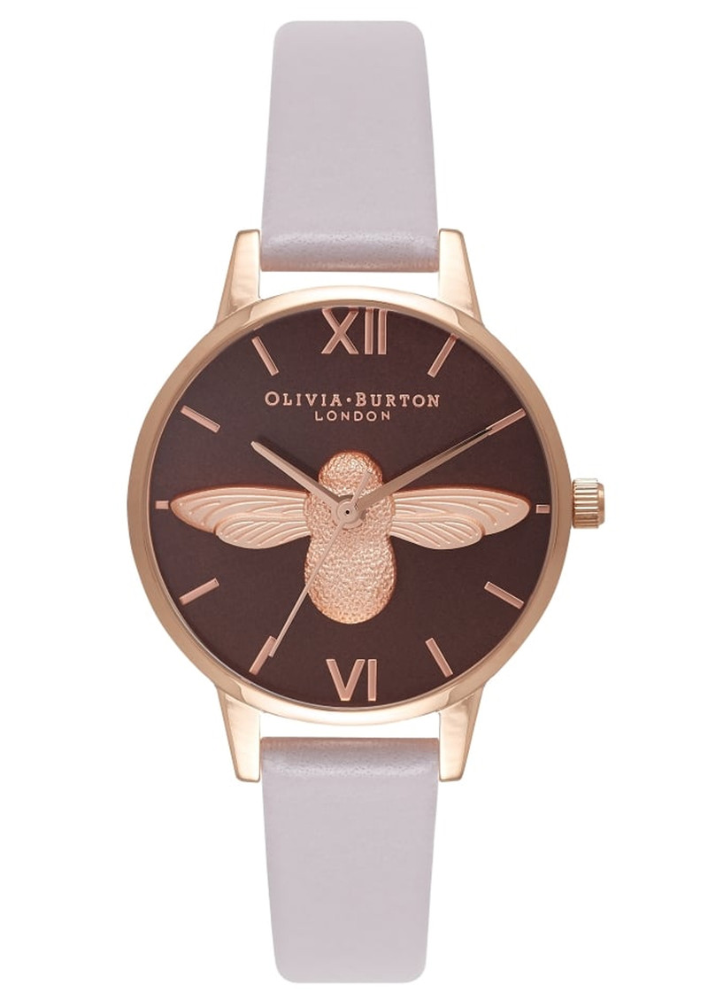 Olivia Burton Midi Moulded Bee Brown Dial Watch - Grey Lilac & Rose Gold main image