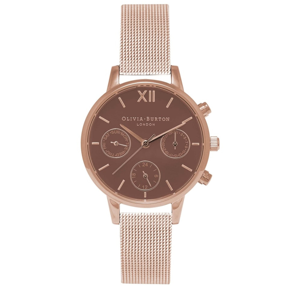 Midi Chrono Detail Brown Dial Mesh Watch - Rose Gold