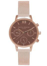 Olivia Burton Midi Chrono Detail Brown Dial Mesh Watch - Rose Gold