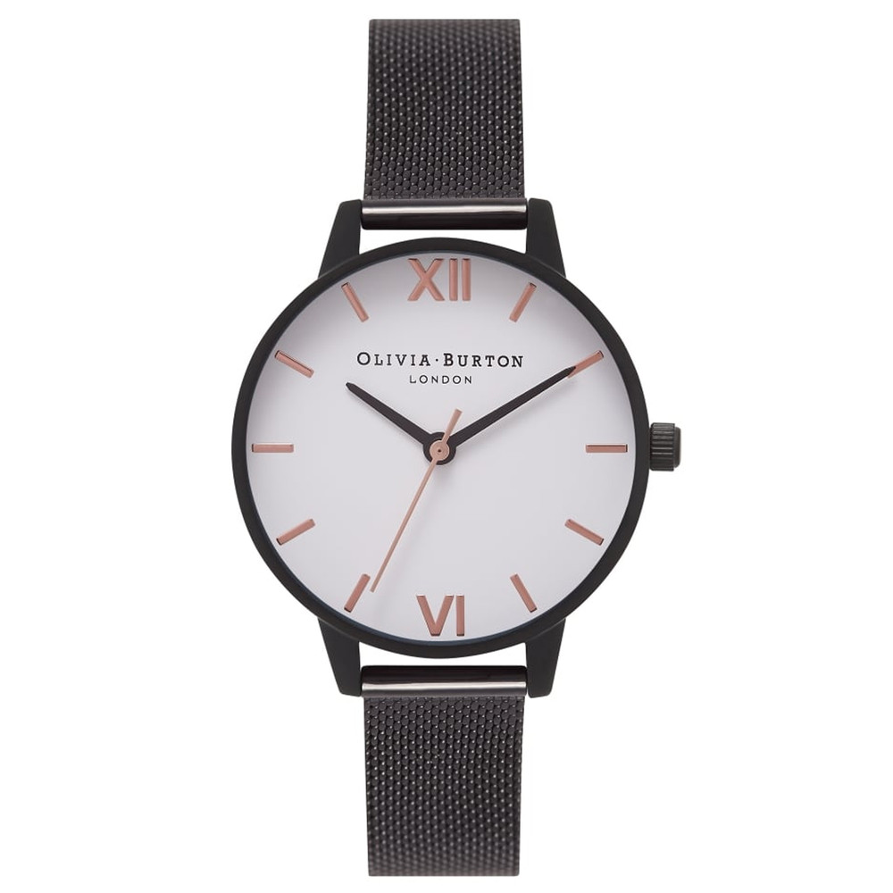 Midi White Dial Mesh Watch - IP Black & Rose Gold
