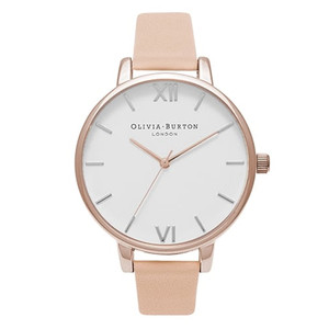 Big Dial White Dial Watch - Nude Peach & Rose Gold