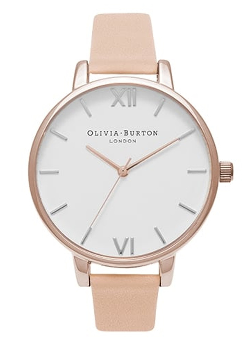 Olivia Burton Big Dial White Dial Watch - Nude Peach & Rose Gold main image