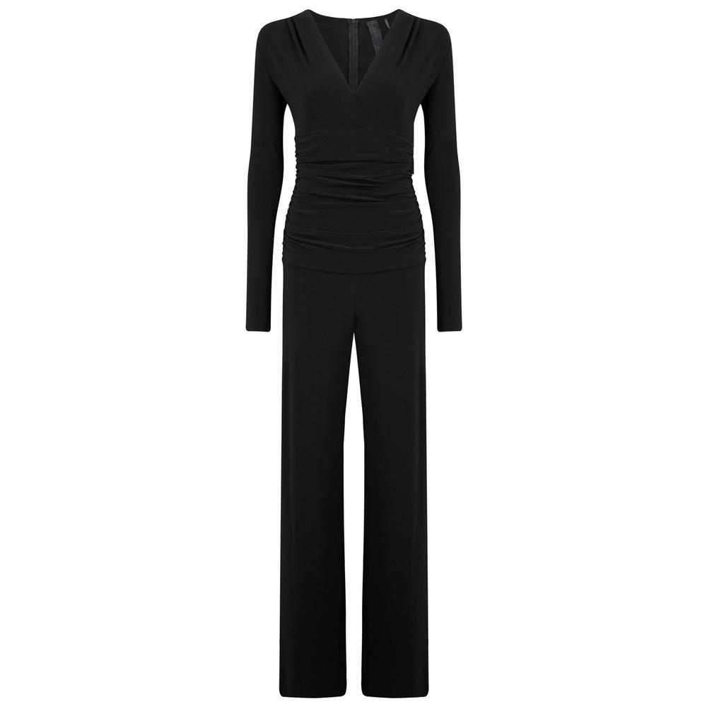 V Neck Long Sleeve Shirred Waist Jumpsuit - Black