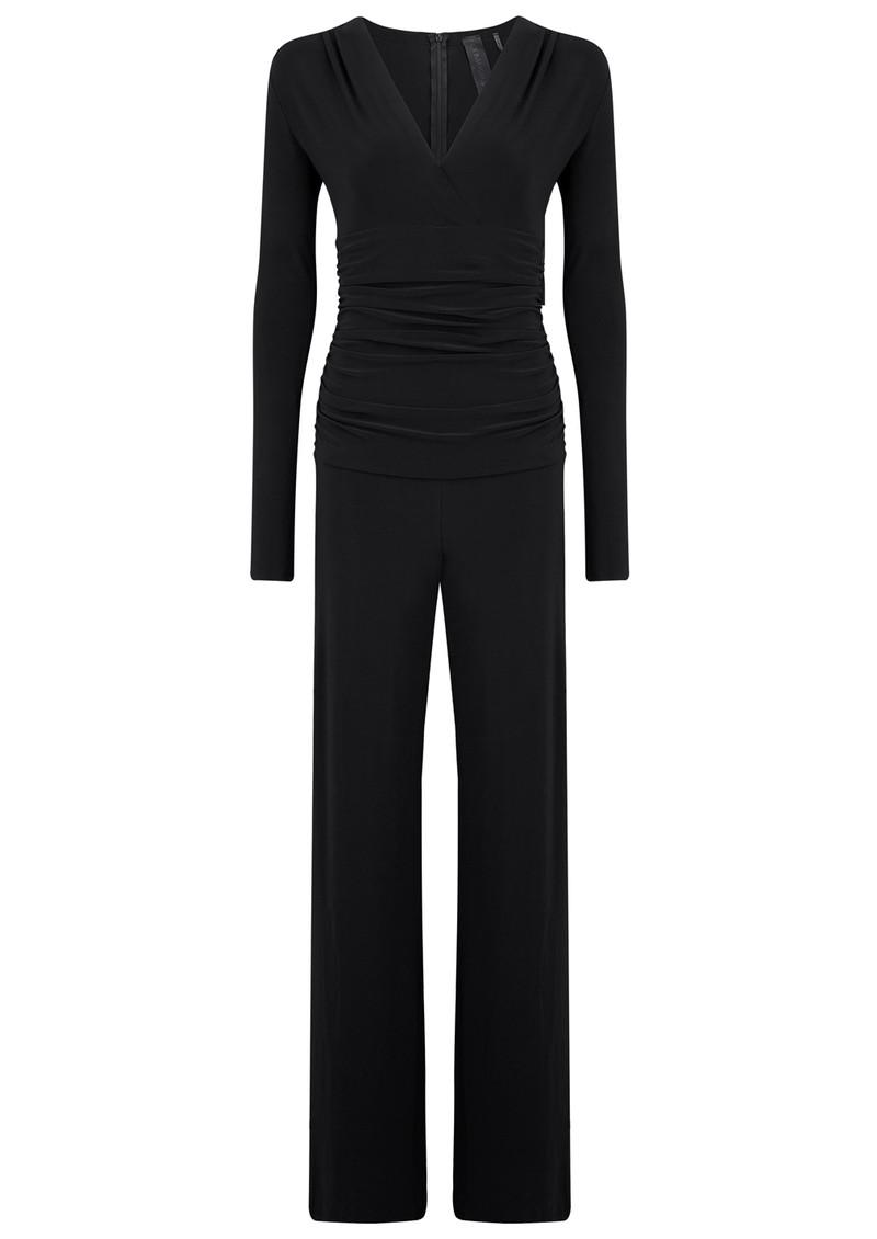 KAMALI KULTURE V Neck Long Sleeve Shirred Waist Jumpsuit - Black main image