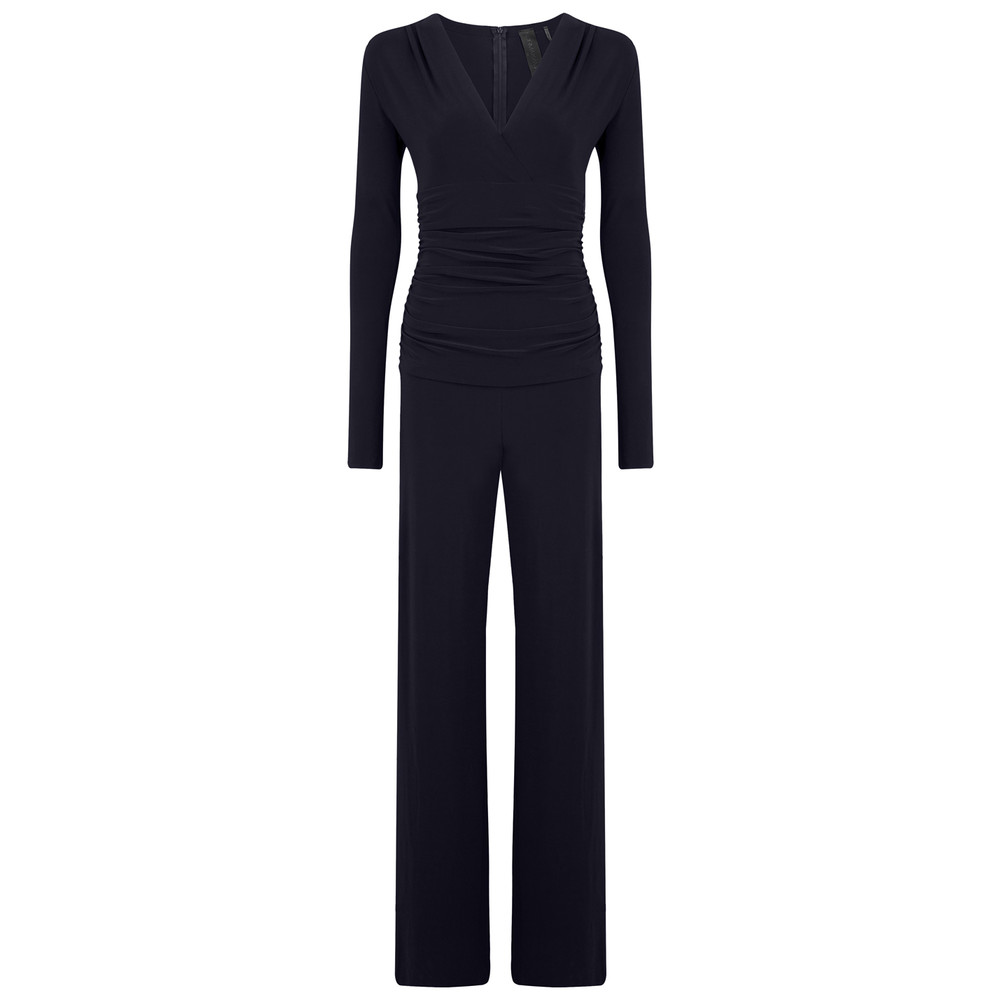 V Neck Long Sleeve Shirred Waist Jumpsuit - Midnight