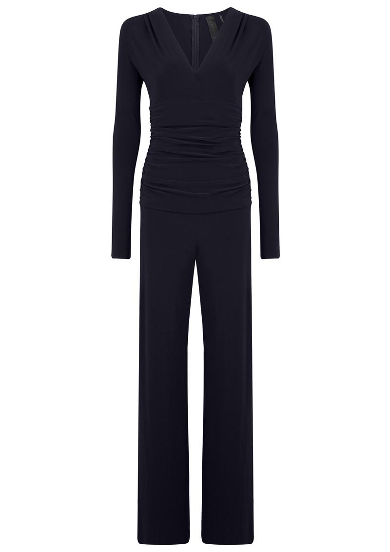 KAMALI KULTURE V Neck Long Sleeve Shirred Waist Jumpsuit - Midnight main image
