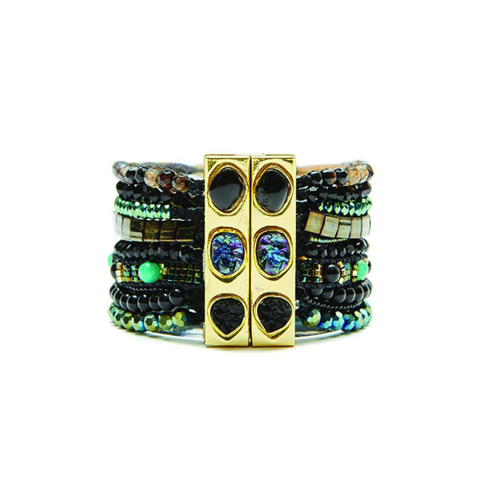Amazonia Bracelet - Gold, Black & Turquoise