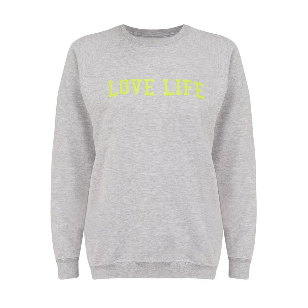 Love Life Jumper - Grey Melange & Neon Yellow