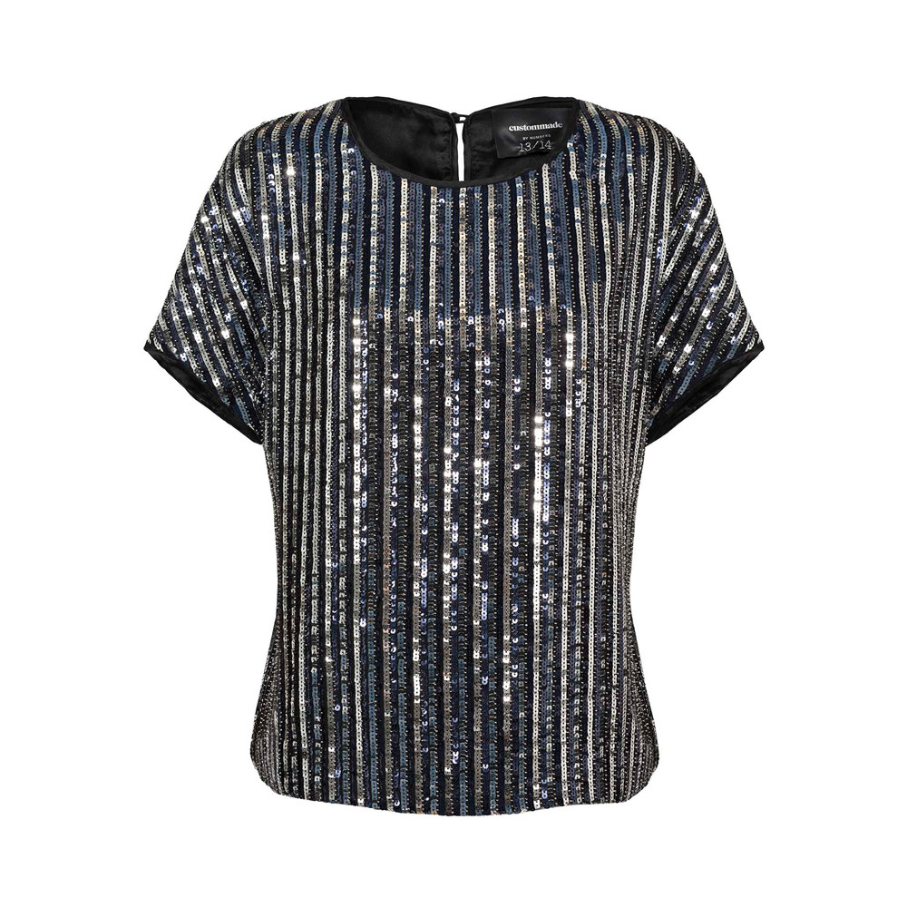 Idacaroline Sequin Top - Anthracite Black