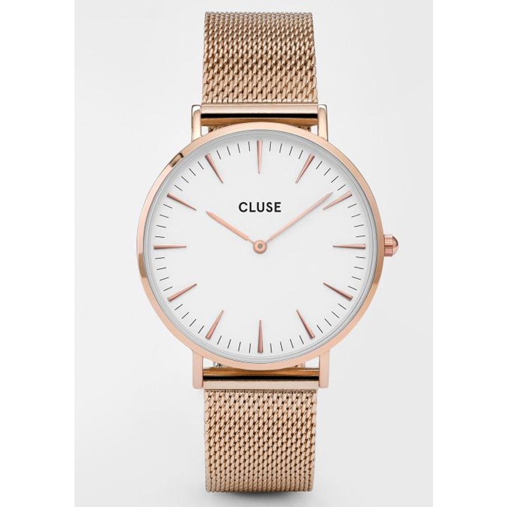 La Boheme Mesh Watch - Rose Gold & White