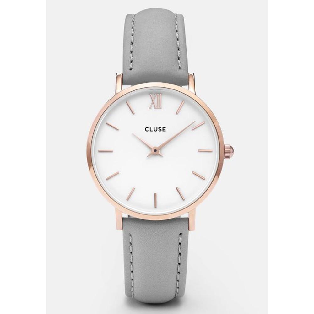 Minuit Rose Gold Watch - White & Grey