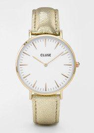 CLUSE La Boheme Metallic Watch - Gold & White