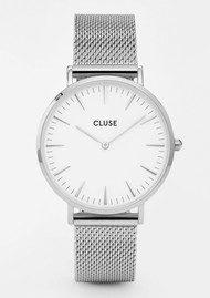 CLUSE La Boheme Mesh Watch - Silver & White