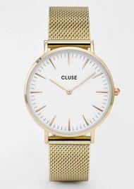 CLUSE La Boheme Mesh Watch - Gold & White