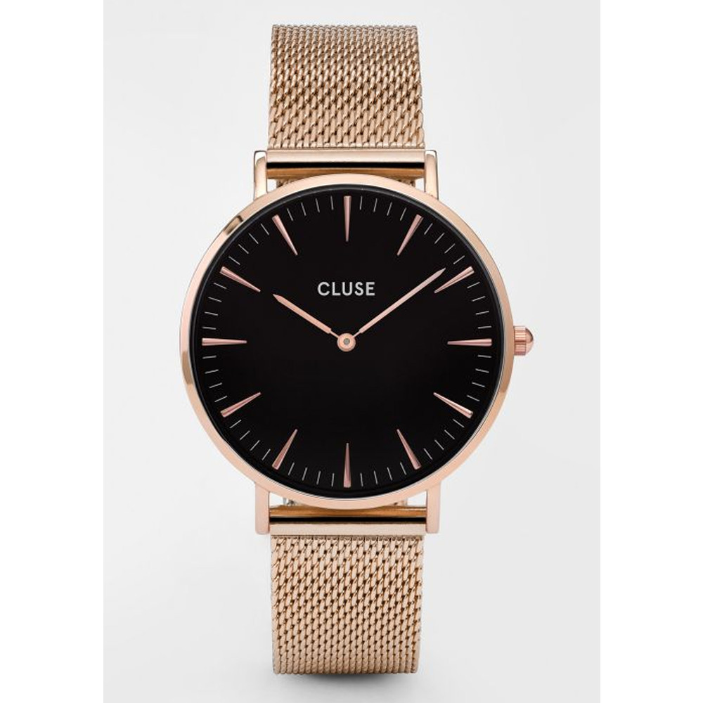 La Boheme Mesh Watch - Rose Gold & Black