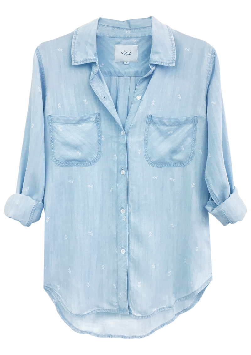 Carter Long Sleeve Arrow Shirt - Denim & White main image