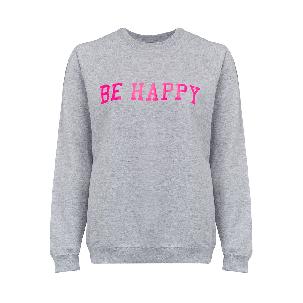 Be Happy Jumper - Grey & Neon Pink