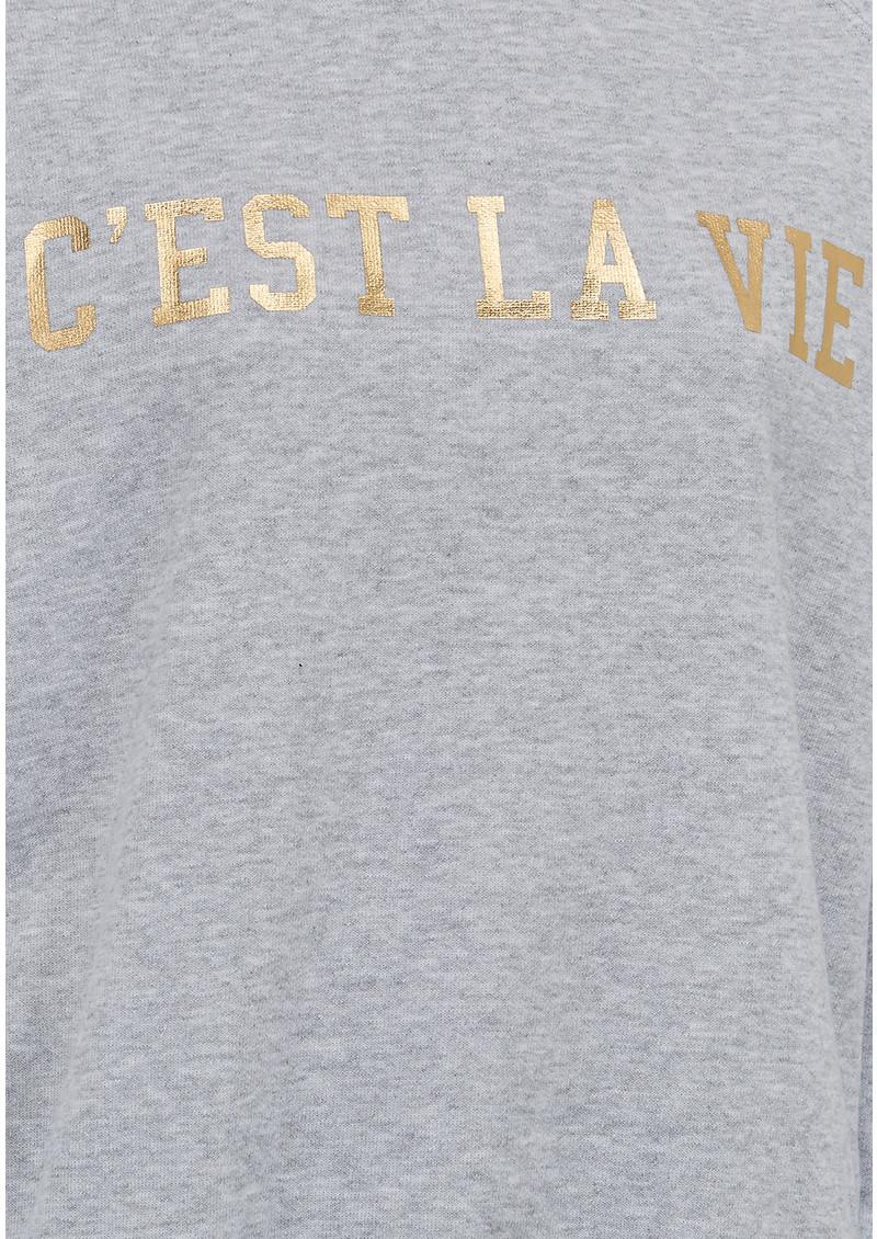 ON THE RISE C'est La Vie Jumper - Grey & Gold main image