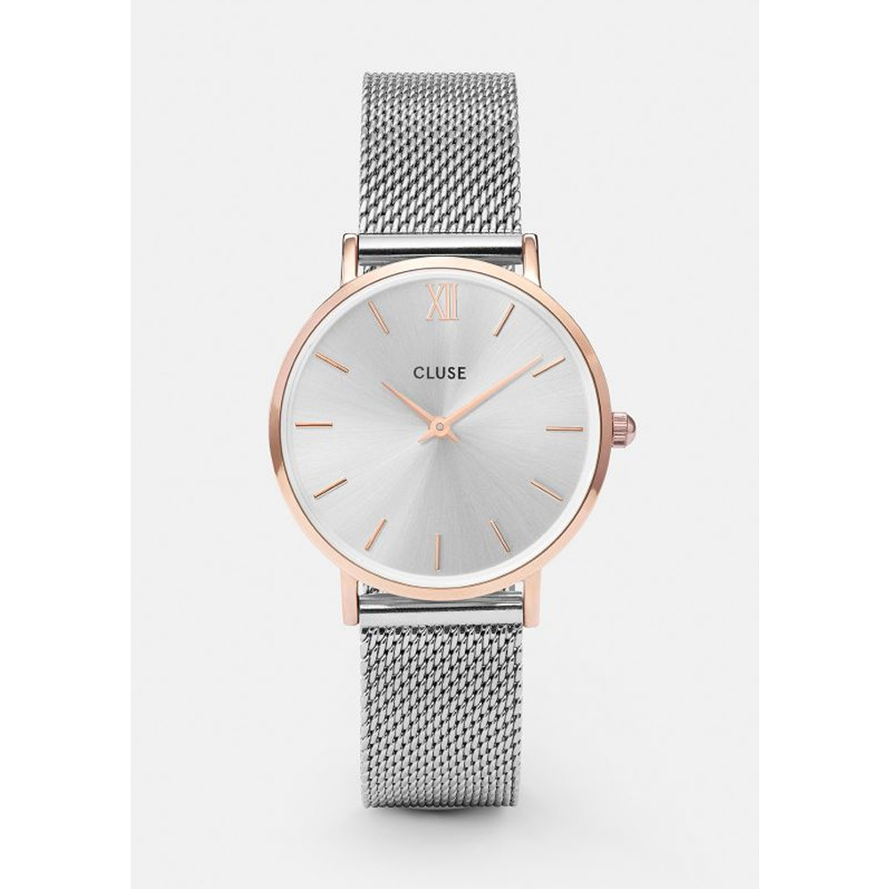 Minuit Mesh Watch - Silver & Rose Gold