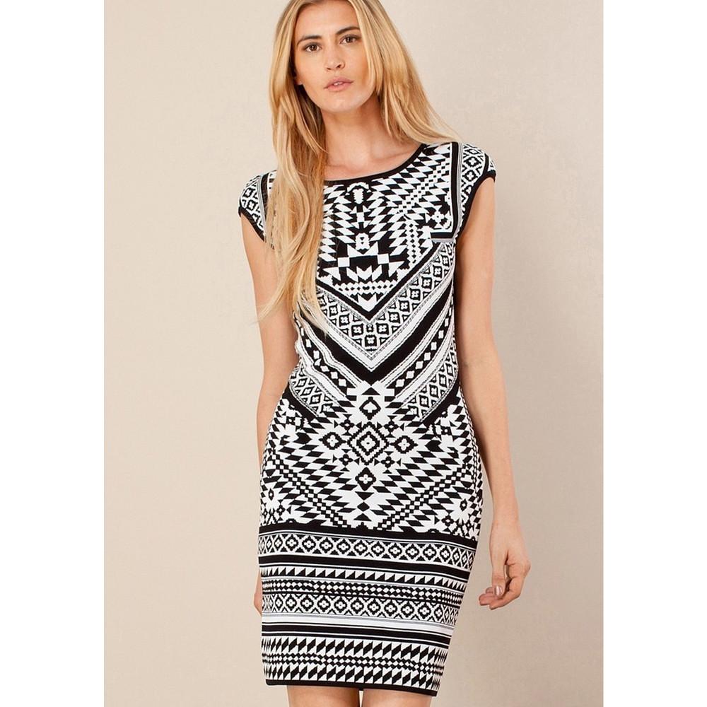 Xantha Fitted Jacquard Dress - Black & White