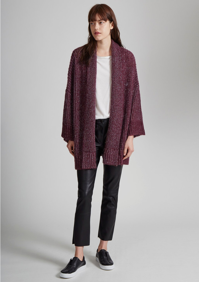 Great Plains Sparkle Silent Oversized Cardigan - Elderberry & Silver main image