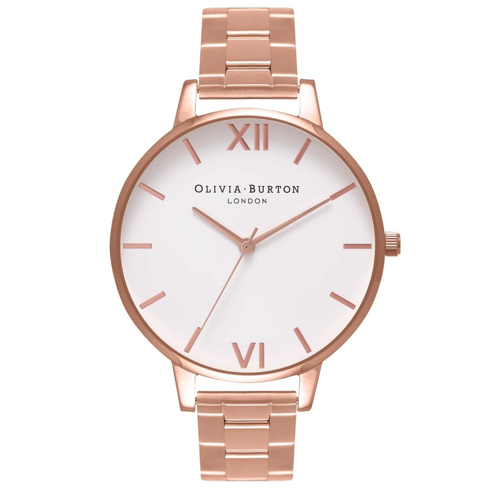 Big Dial White Dial Bracelet Watch - Rose Gold
