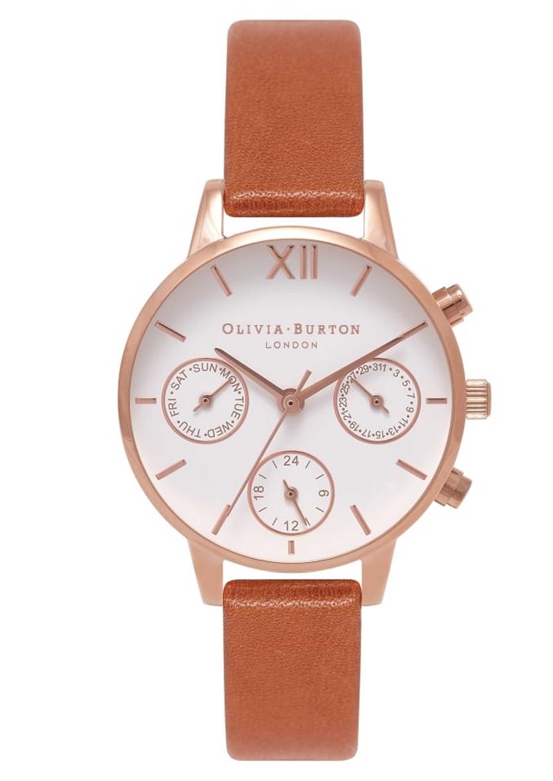 Olivia Burton Midi Dial Chrono Watch - Tan & Rose Gold main image