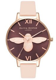 Olivia Burton Moulded Bee Watch - Nude Peach & Rose Gold