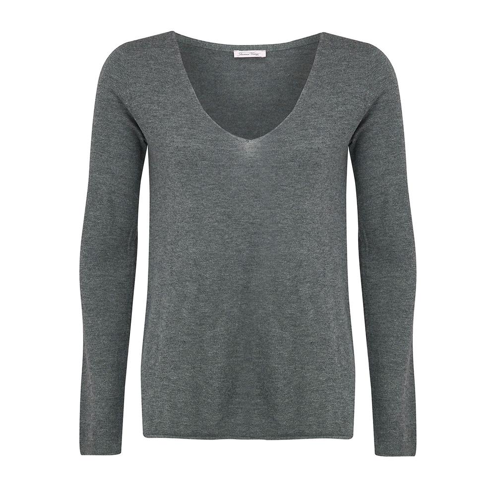 Blossom V Neck Sweater - Grey Chine