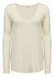 American Vintage Blossom V Neck Sweater - Ivory Chine