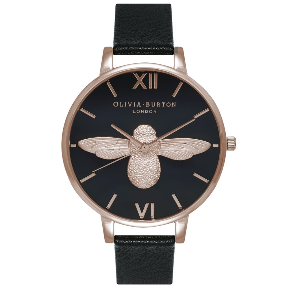 Moulded Bee Black Dial Watch - Black & Rose Gold